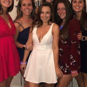 White Low Cut Express Dress